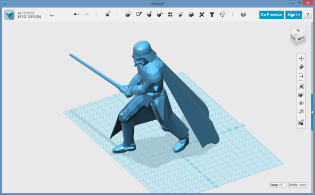 Repaired Darth Vader STL file imported into 123D Design.